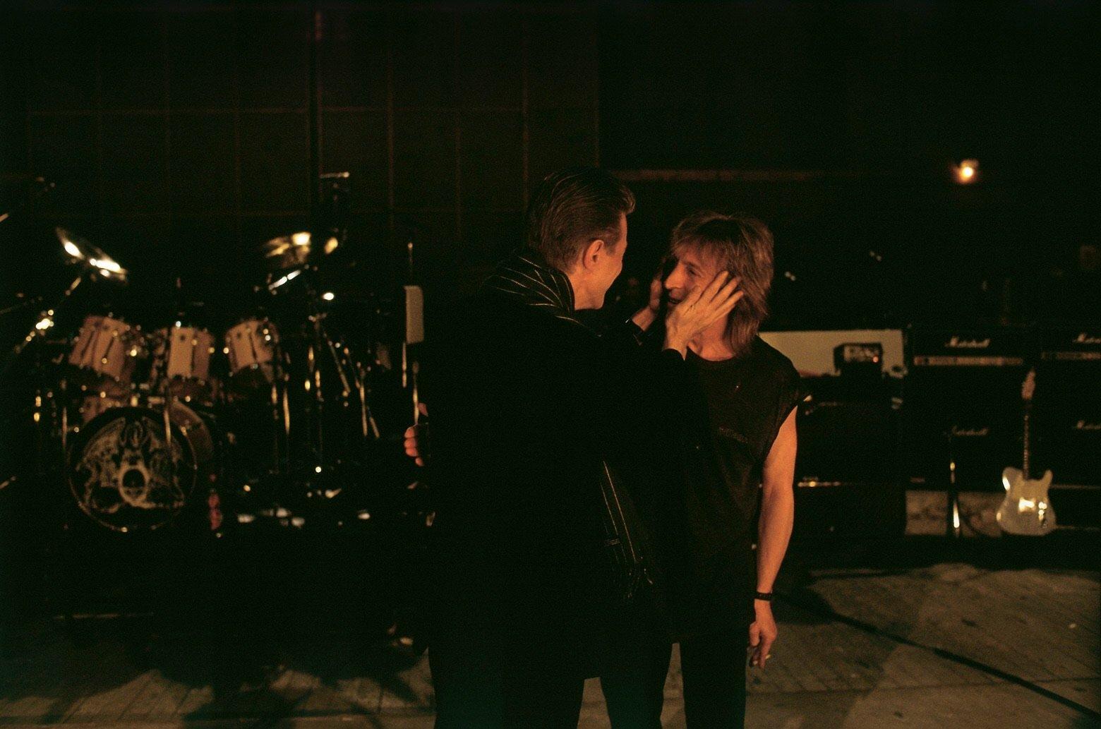 David Bowie and Mick Ronson ~ Brian Aris, April 1992.jpeg