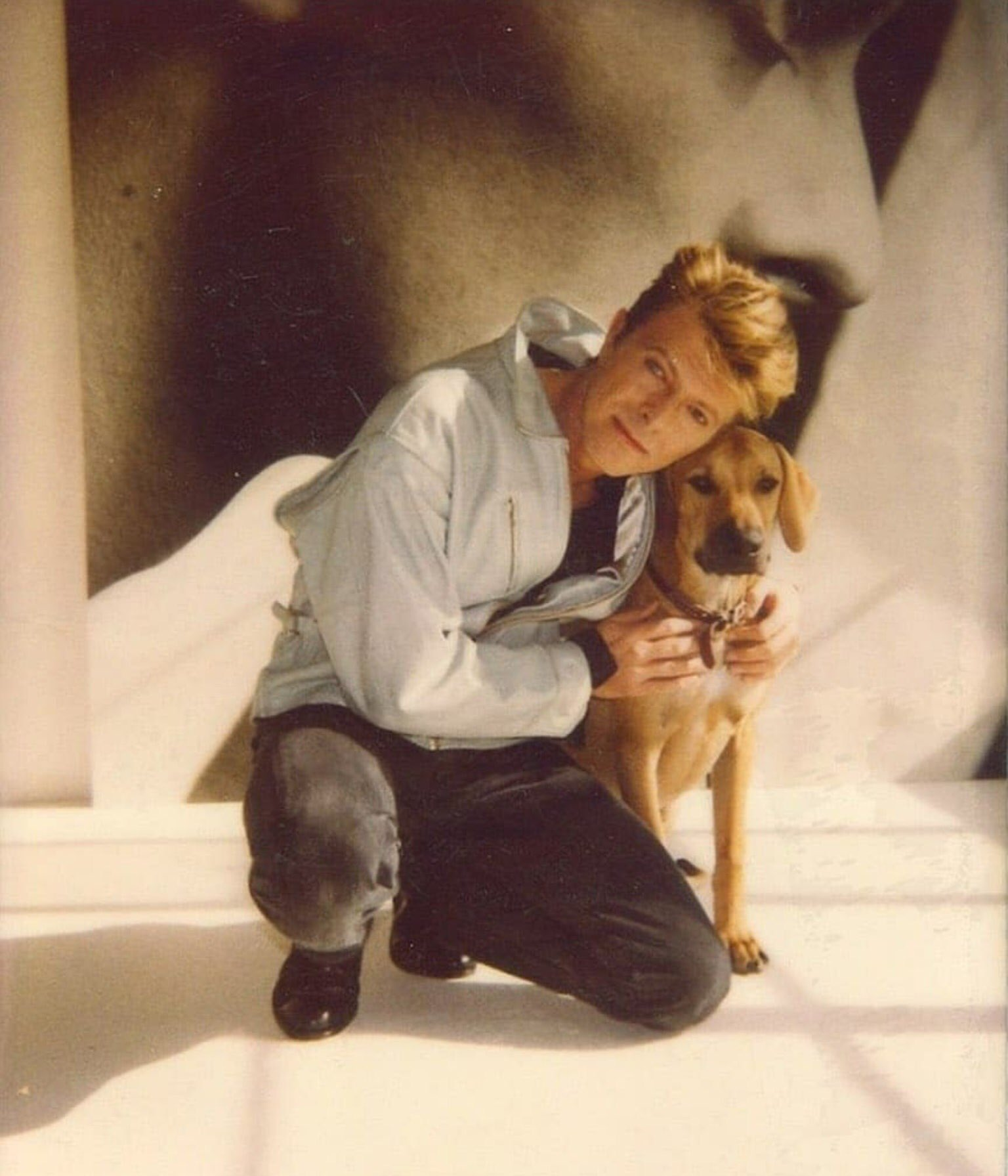 David Bowie and dog, Herb Ritts, December 1989.jpg